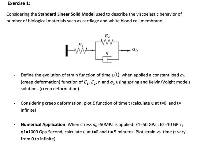Solved: Considering The Standard Linear Solid Model Used T
