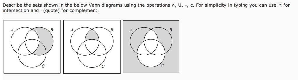 Solved Describe The Sets Shown In The Below Venn Diagrams