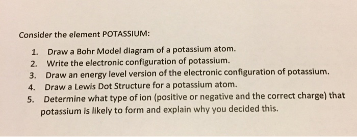 Solved Consider The Element Potassium Draw A Bohr Model