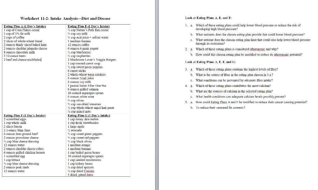 Solved Worksheet 11 2 Intake Analvsis Diet And Disease L