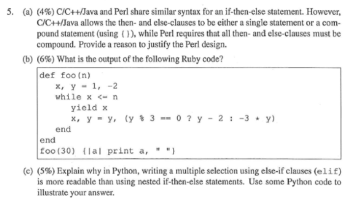 Solved: (a) C/C++/Java And Perl Share Similar Syntax For A