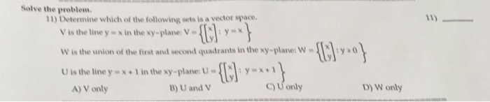 Determine which of the following sets is a vector