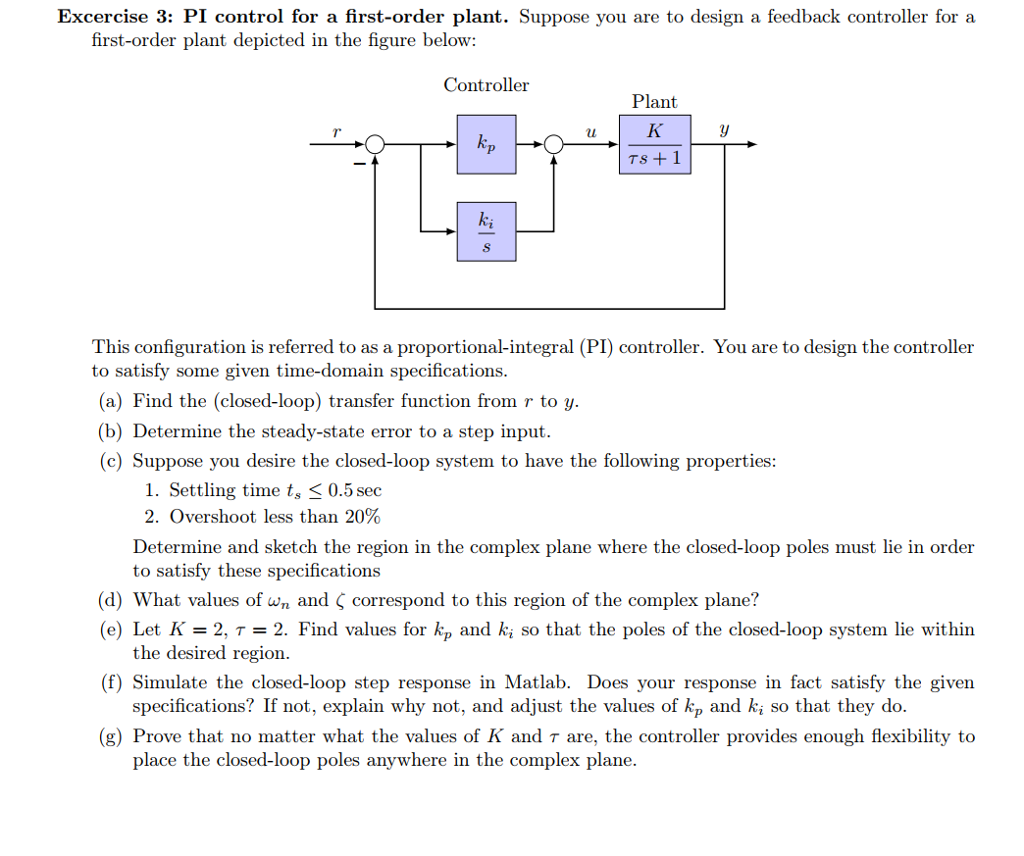 Solved: Excercise 3: PI Control For A First-order Plant  S
