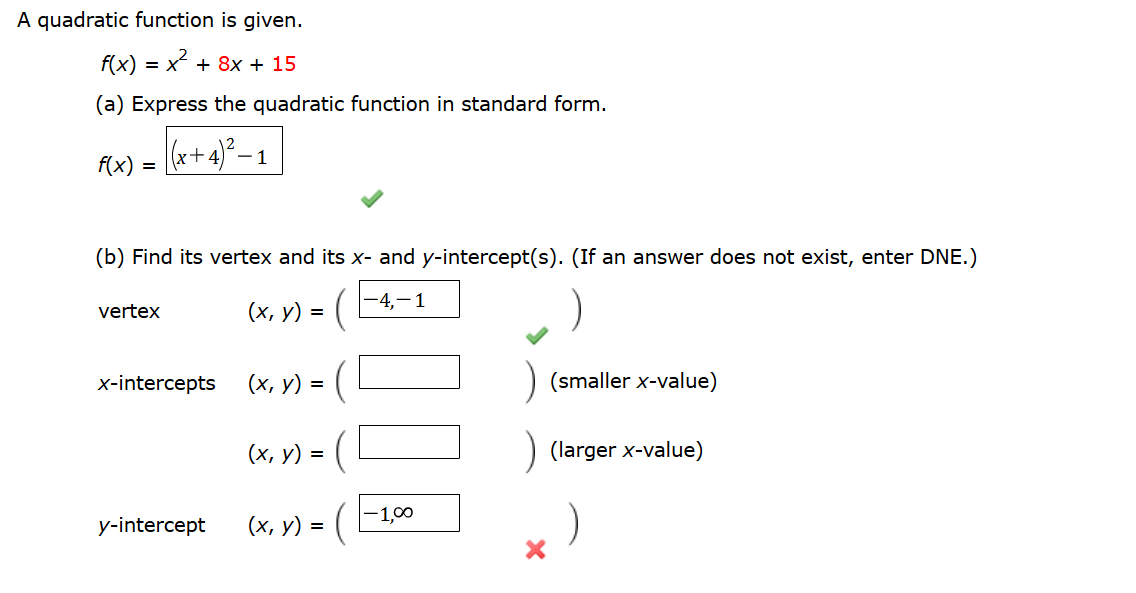 Solved A Quadratic Function Is Given Fx X2 8x 15