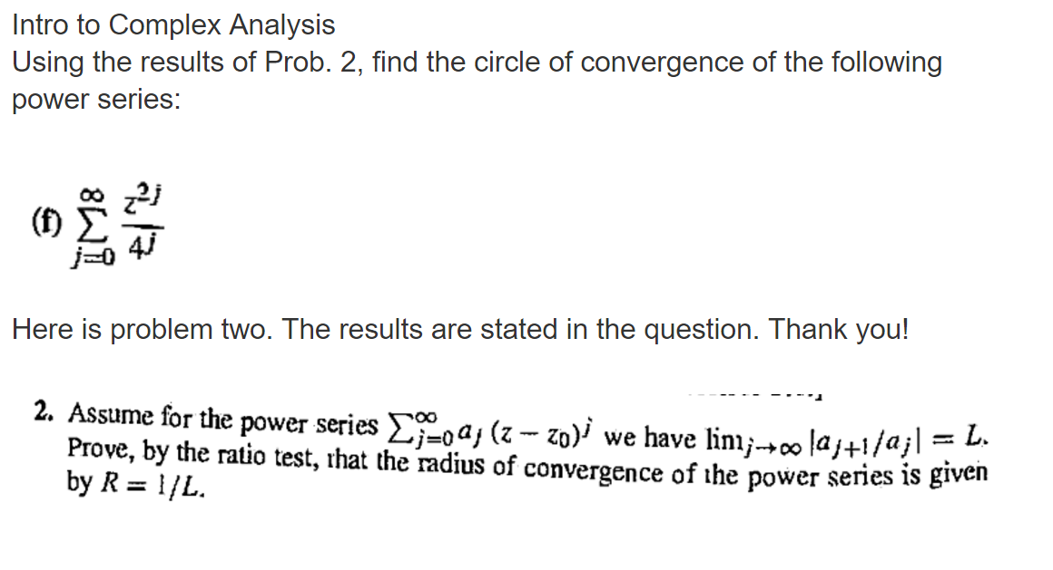 Solved: Intro To Complex Analysis Using The Results Of Pro