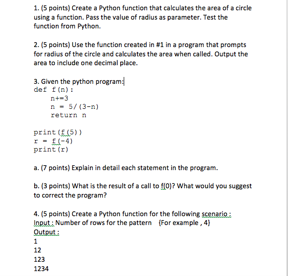 create a function in python