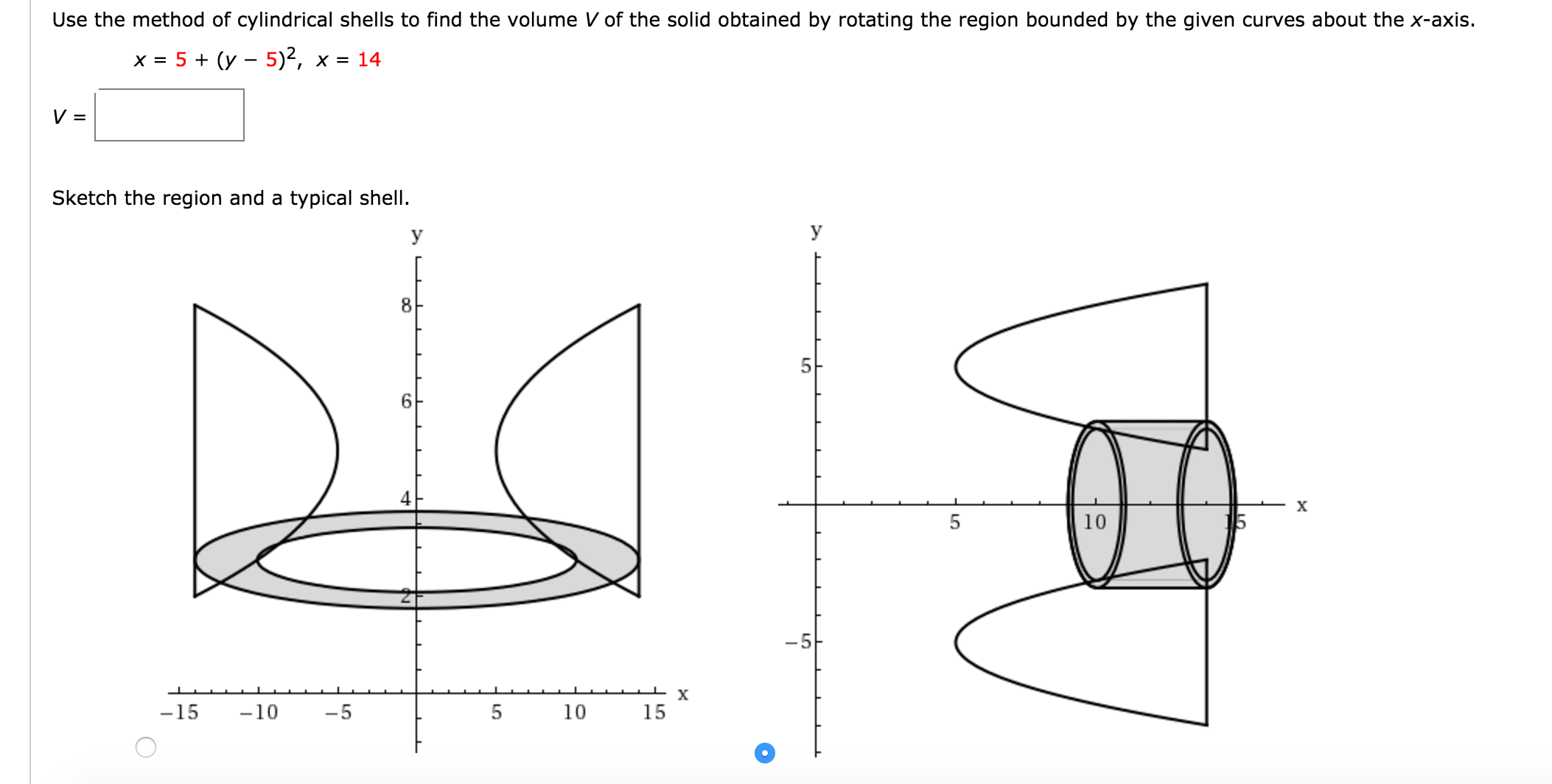 Use The Method Of Cylindrical Shells To Find The V