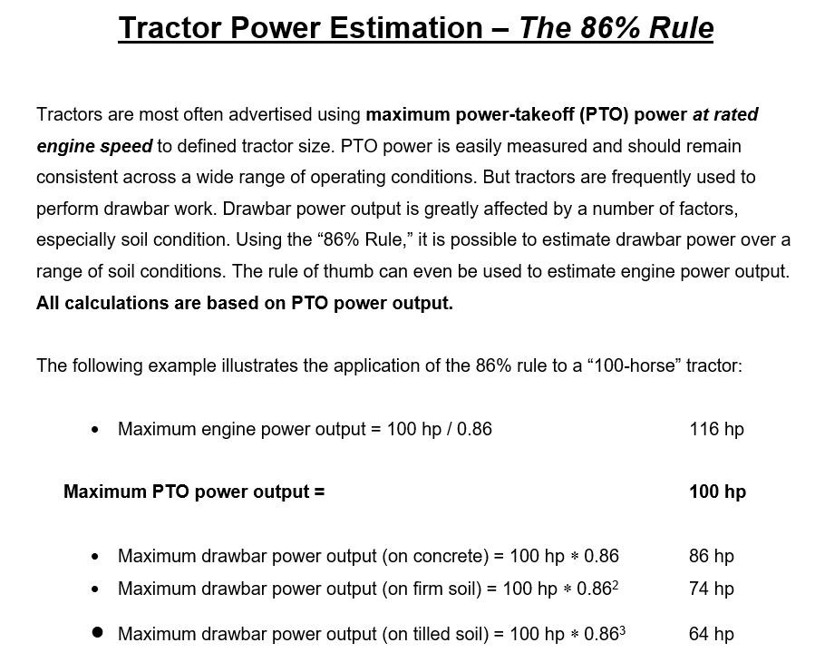 Tractor Power Estimation-The 86% Rule Tractors Are