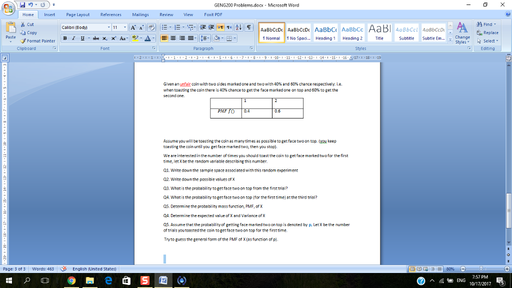 Solved: GENG200 Problems docx-Microsoft Word Home Insert P