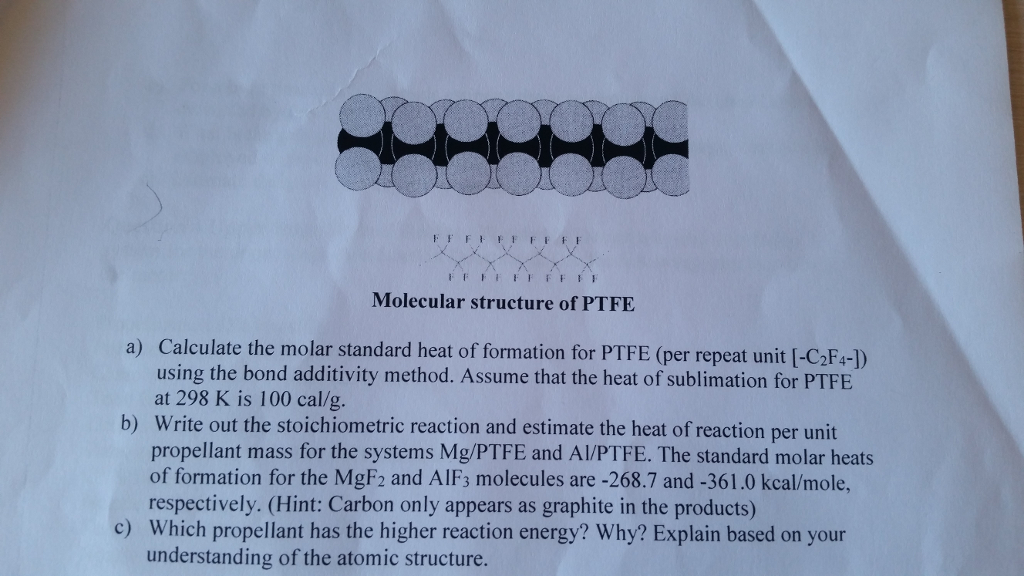 Question 2 - Thermochemistry Of The Metal/Teflon S