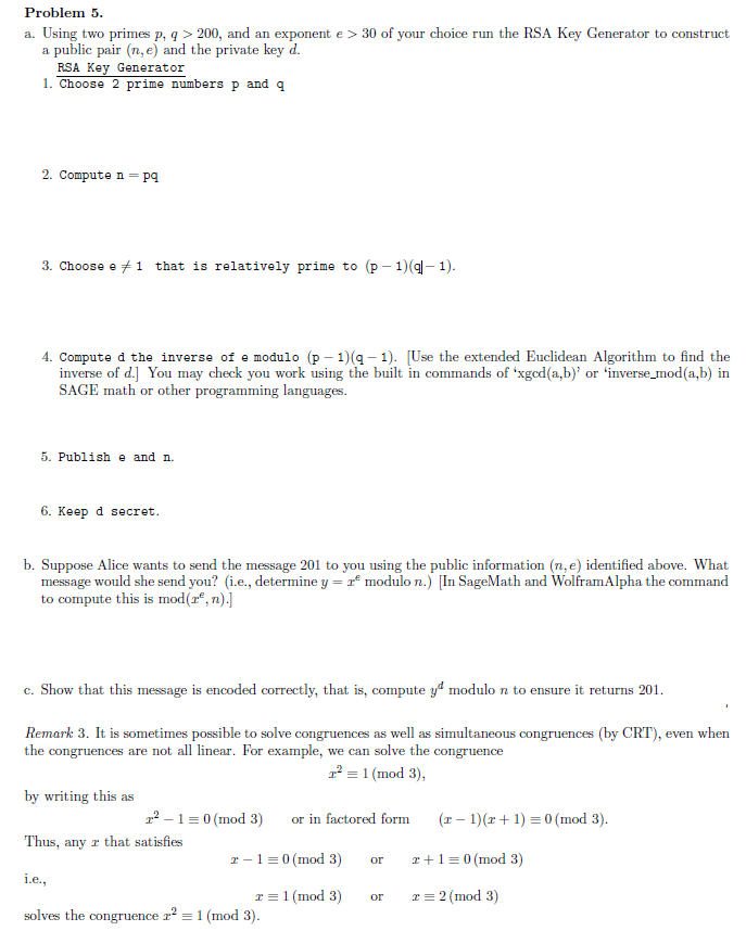 Solved: Problem 5 A. Using Two Primes P, Q >200, And An Ex ...