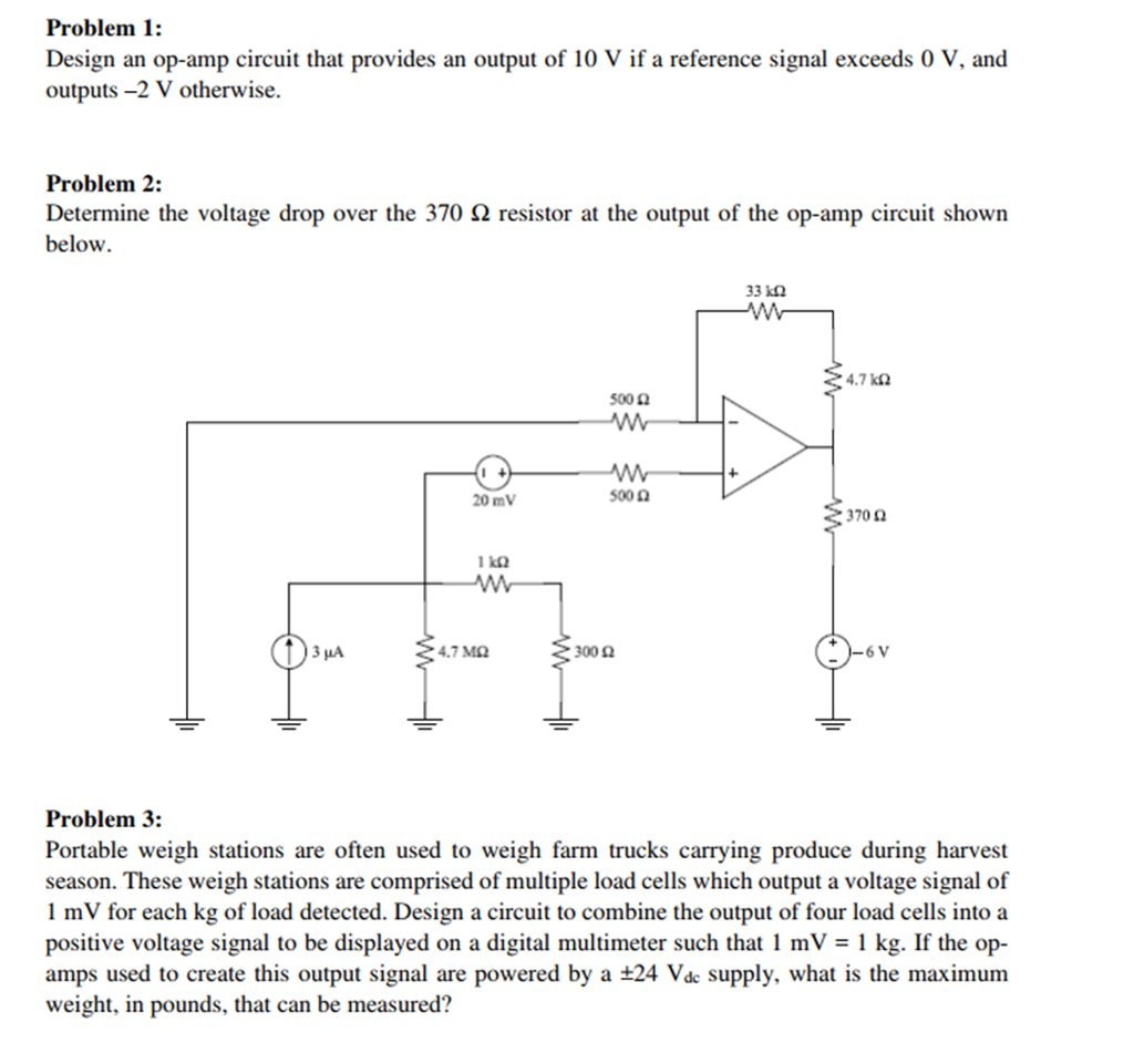 Solved: Problem 1 Design An Op-amp Circuit That Provides A ... on