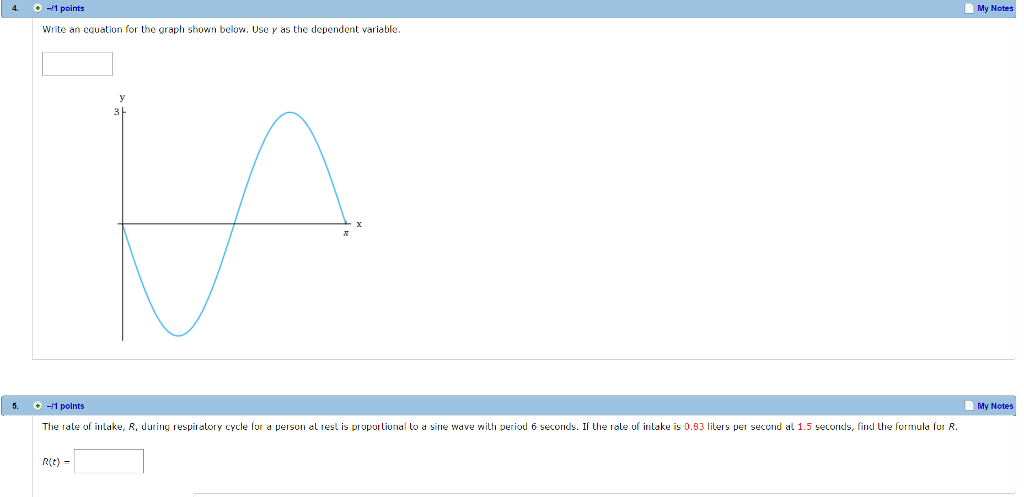 solved: write an equation for the graph shown below. use y