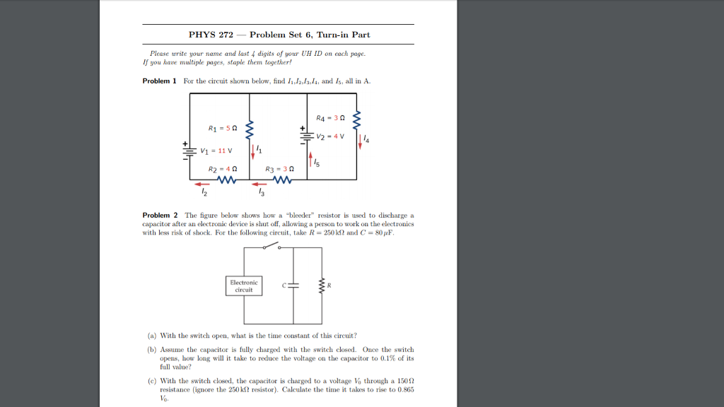 Solved: PHYS 272Problem Set 6, Turn-in Part Please Write Y ...