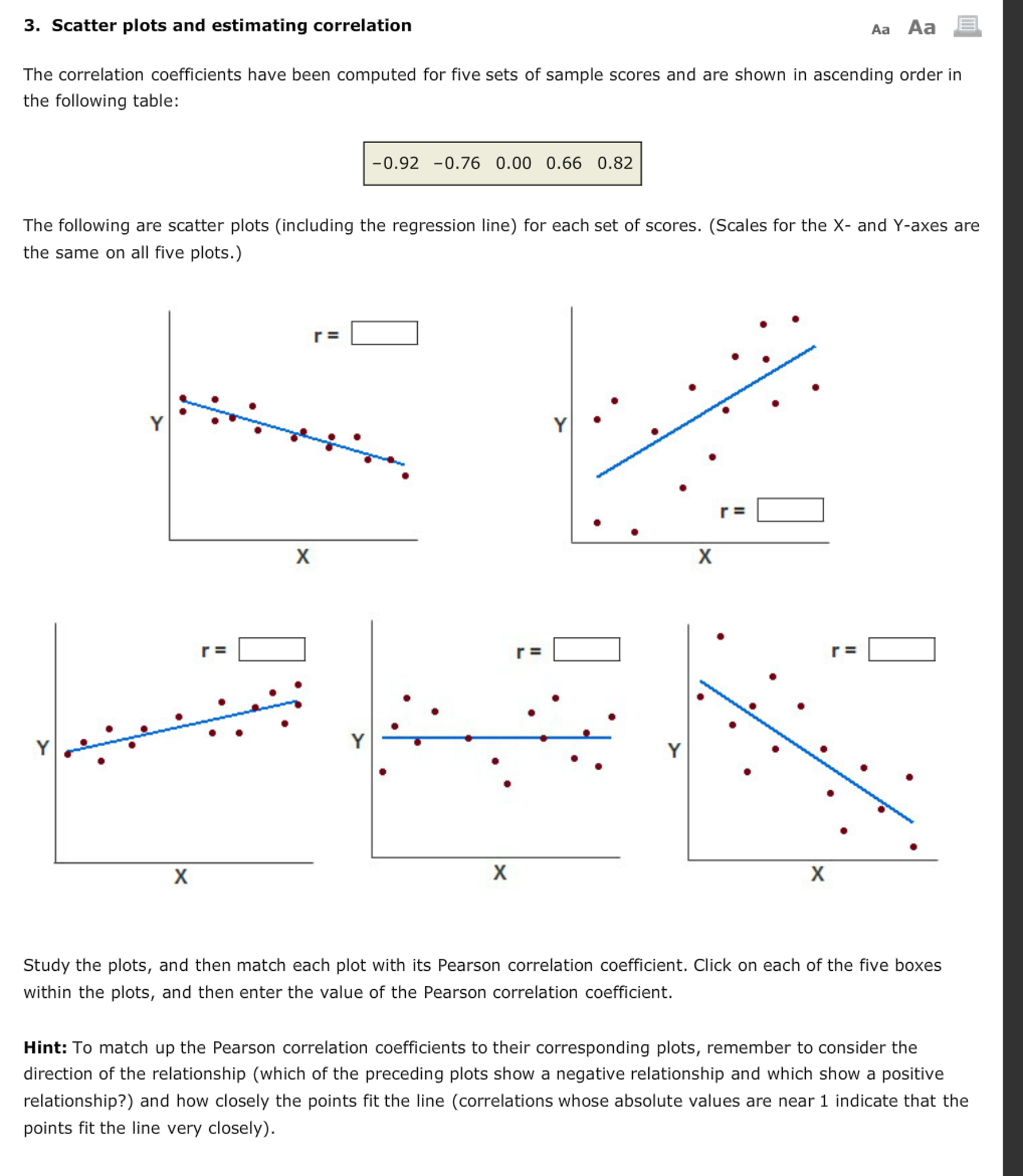 Solved Scatter Plots And Estimating Correlation The Corre