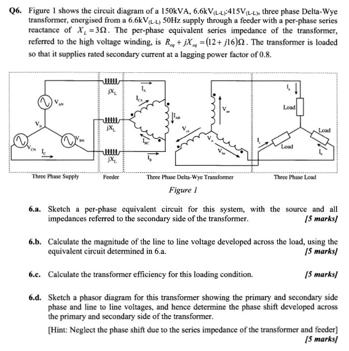 Solved Figure 1 Shows The Circuit Diagram Of A 150kva 6 Chegg Com