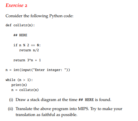 Solved: Exercise 2 Consider The Following Python Code: Def