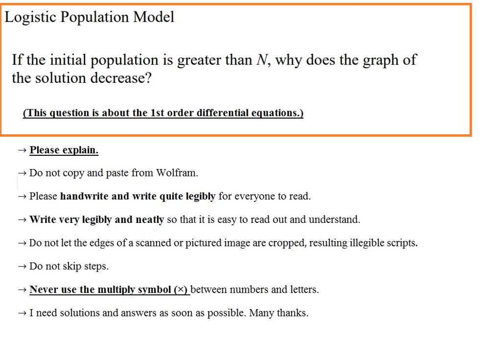 Solved Logistic Population Model If The Initial Populatio