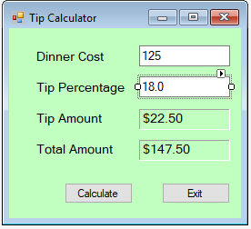 solved 1 write code in visual basic create a tip calcul