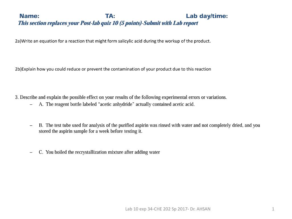recrystallization of salicylic acid lab report