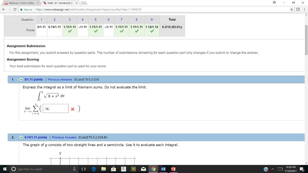 Solved: Mathway L Math Probler × / Wh Math 151 Homework 31 ...