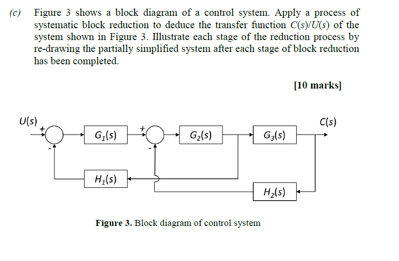(c) figure 3 shows a block diagram of a control system  apply a