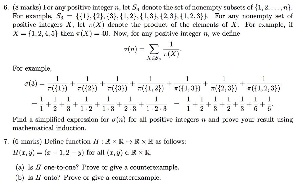 Solved: 6  (8 Marks) For Any Positive Integer N, Let Sn De