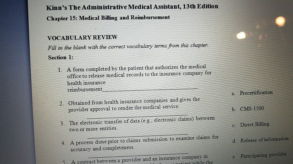 solved kinn s the administrative medical assistant 13th rh chegg com kinns medical assistant study guide answers chapter 8 kinns medical assistant study guide answers chapter 5