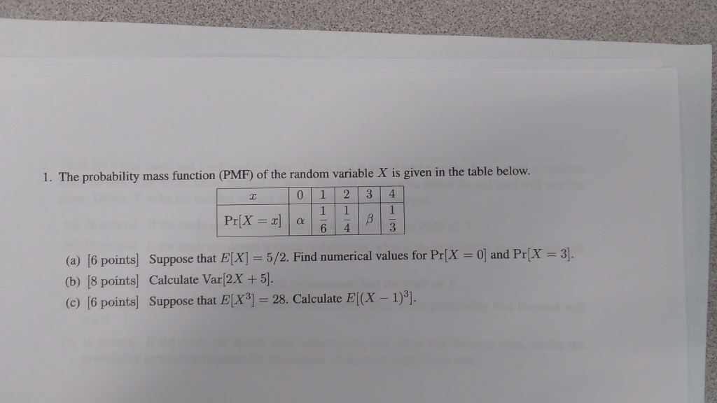 1 The probability mass function PMF of
