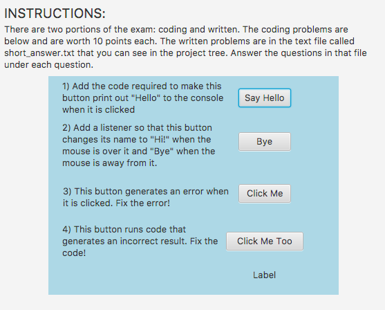 Solved: There Are Two Portions Of The Exam: Coding And Wri
