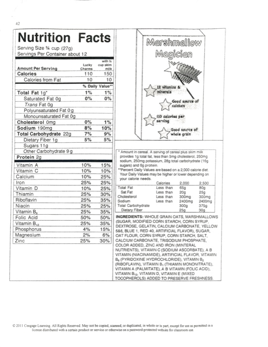 solved worksheet 2 1 breakfast cereal label analysis ins