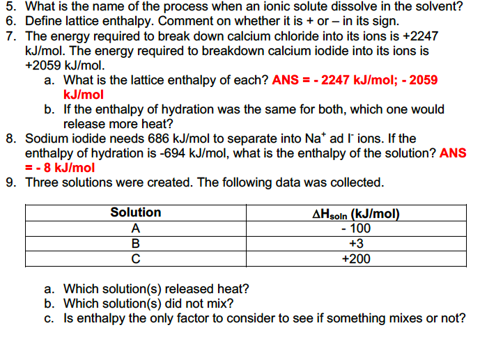 Solved: Expalin Lattice Energy? *I Know This Worksheet Has ...