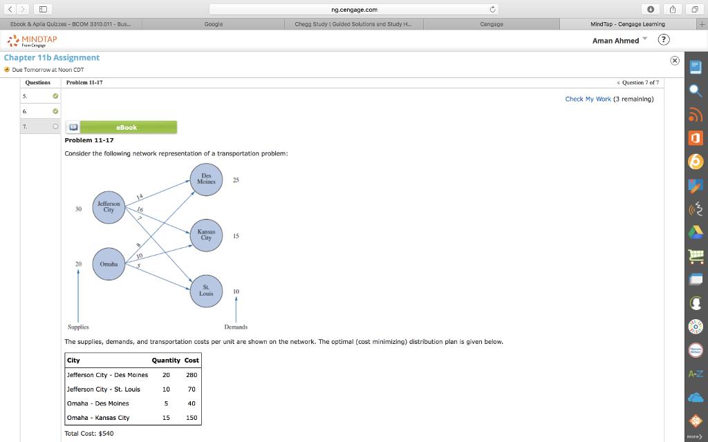Solved: Ng cengage com 0? Ebcok & Aplia Quiz288-BCOM Googl