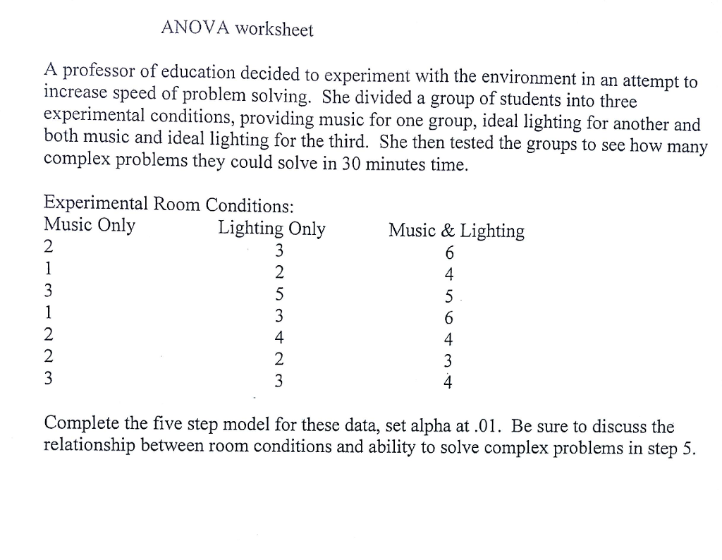 Worksheet Practice Handwriting Worksheets solved anova worksheet a professor of education decided t