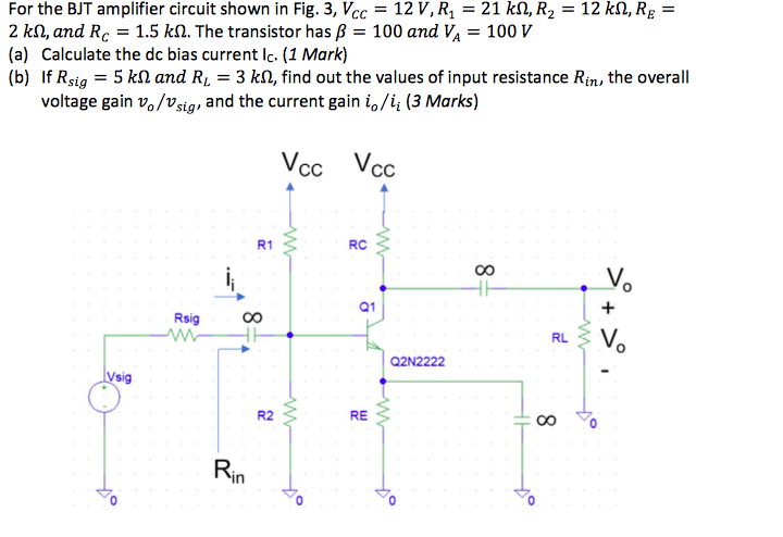 Solved For The Bjt Amplifier Circuit Shown In Fig 3 V C