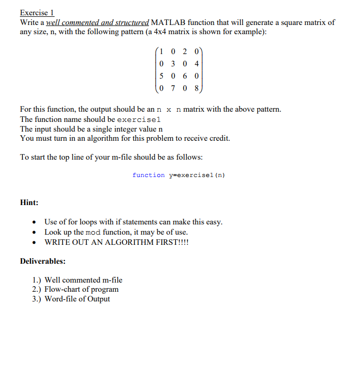Solved: Exercise 1 Write A Well Commented And Structured M