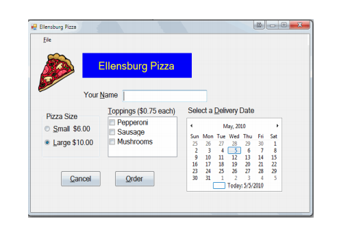An Application - Pizza Order Form The Purpose Of T