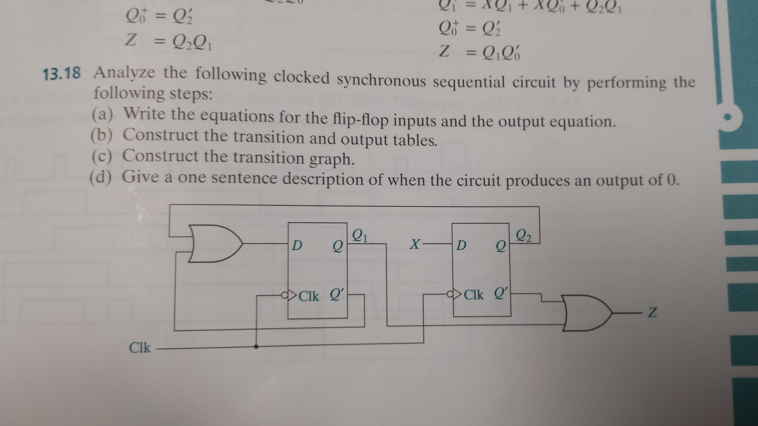 Clocked Sequential Circuit Design Manual Guide Wiring Diagram J K Flipflop By Cloudfront Solved Analyze The Following Synchronous Sequenti Rh Chegg Com Using Jk Flip Flop Truth Table