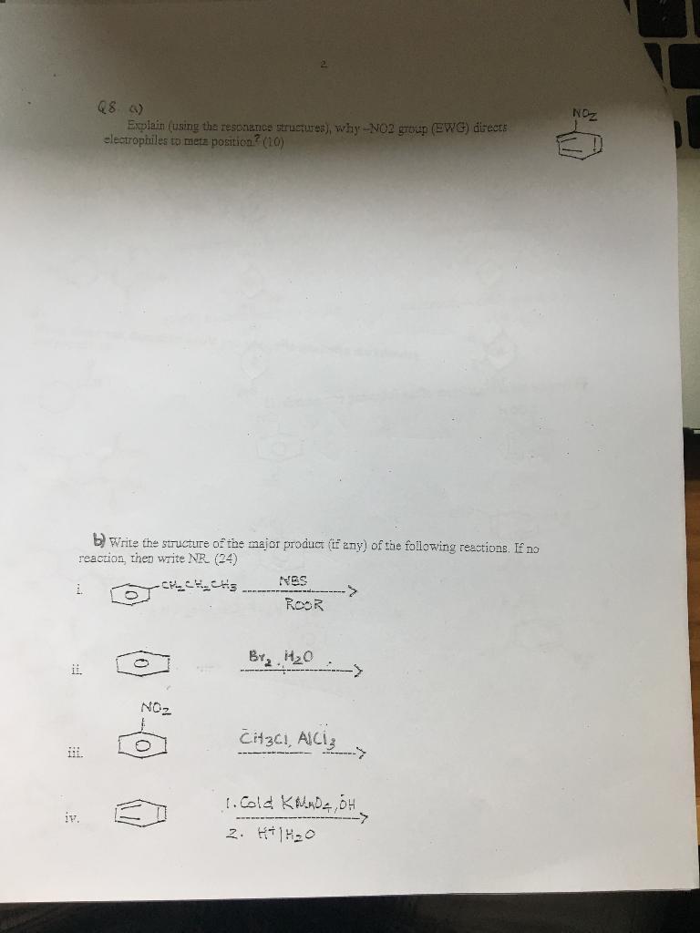 Q8 a why NO2 group E Explain