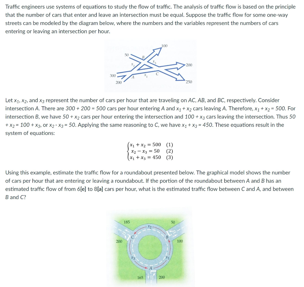 Solved: Traffic Engineers Use Systems Of Equations To Stud ...