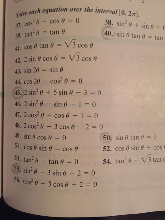 Solved Solve Each Equation Over The Interval 0 2 Pi C Chegg Com