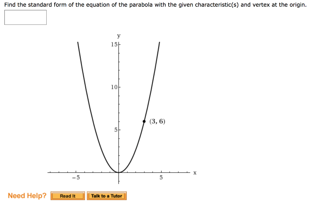 Solved Find The Standard Form Of The Equation Of The Para