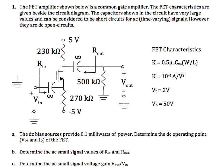 Fantastic Solved 1 The Fet Amplifier Shown Below Is A Common Gate Wiring Digital Resources Cettecompassionincorg