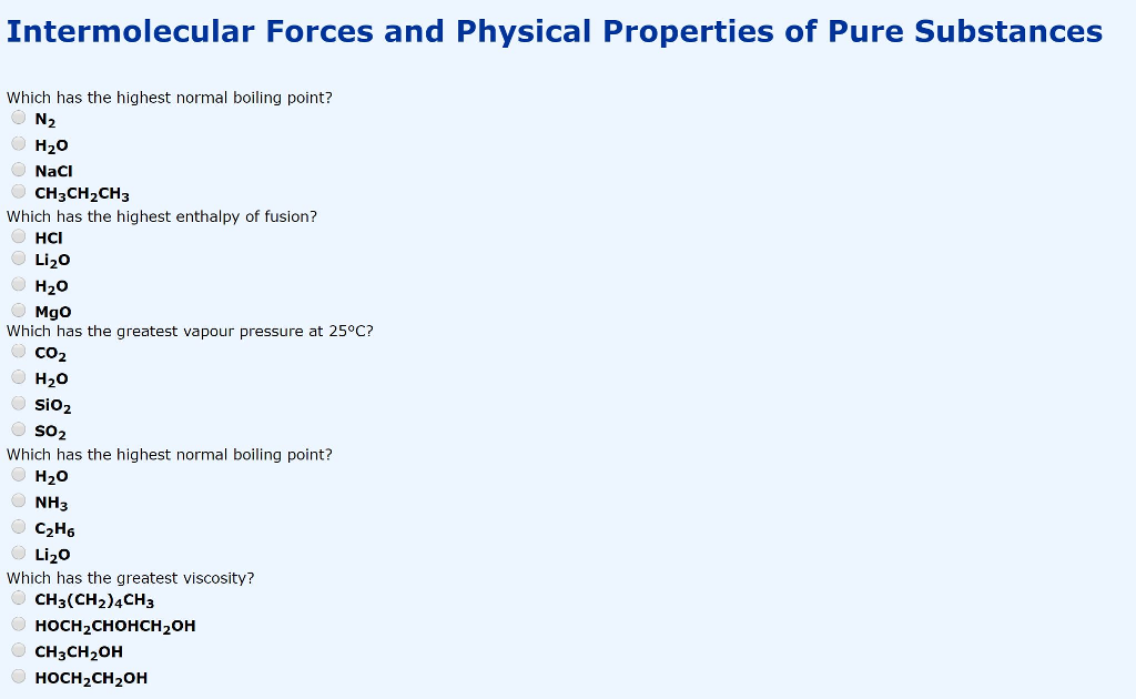 Solved: Intermolecular Forces And Physical Properties Of P