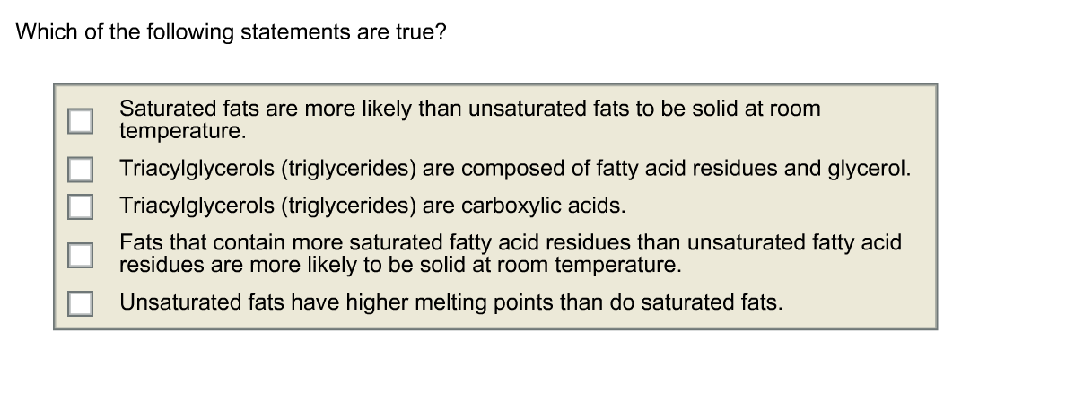 Unsaturated Fats Solid At Room Temperature