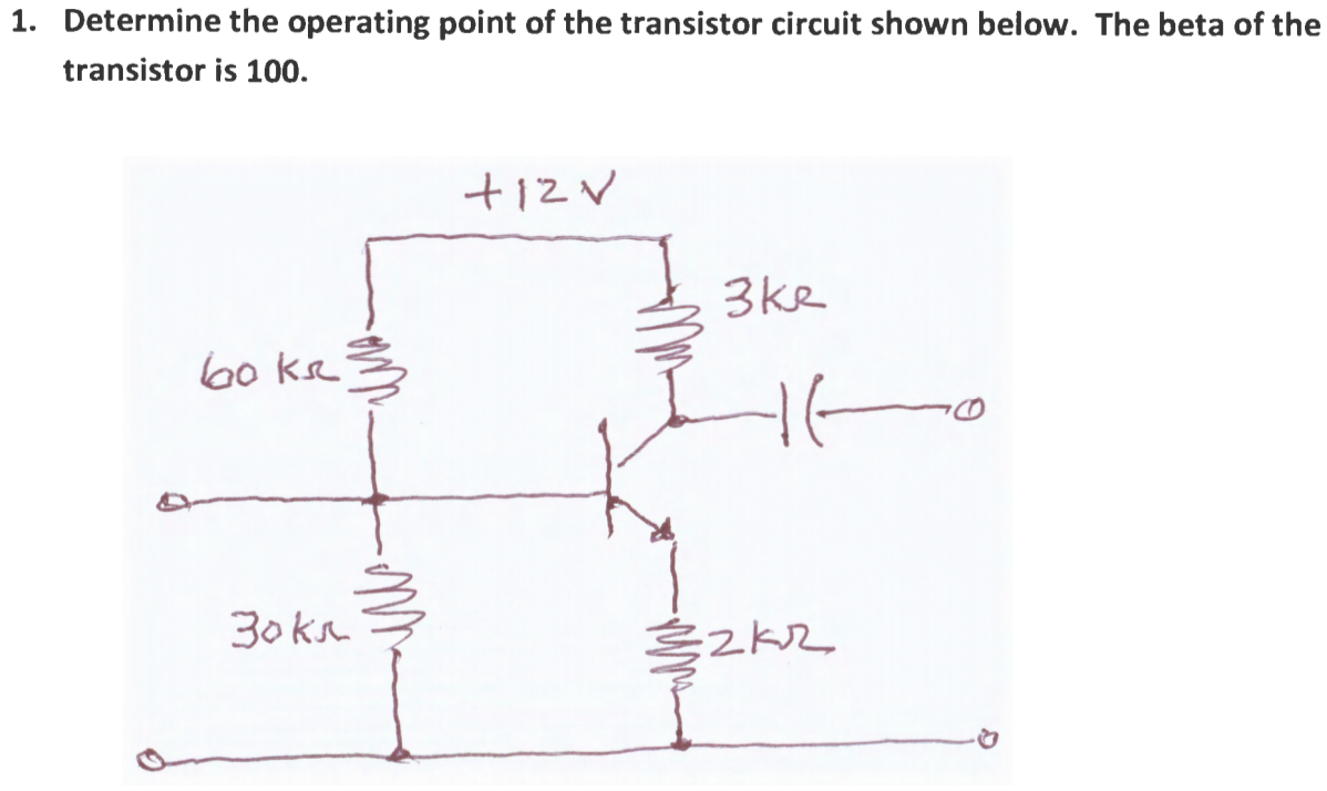 Solved Determine The Operating Point Of Transistor Ci In Circuit