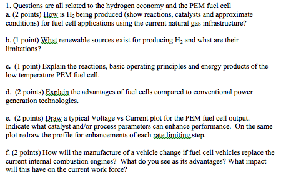 Solved: 1  Questions Are All Related To The Hydrogen Econo