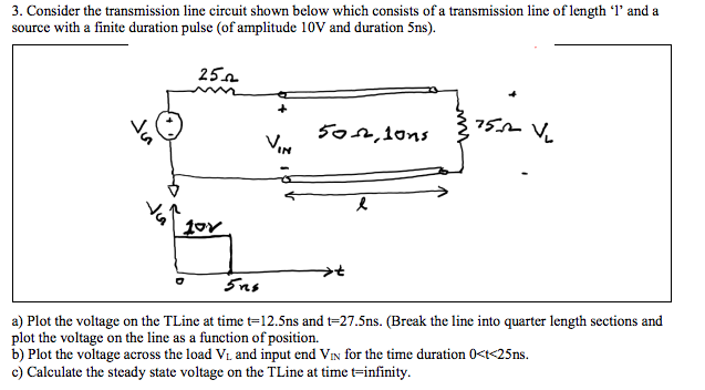 Solved: 3  Consider The Transmission Line Circuit Shown Be