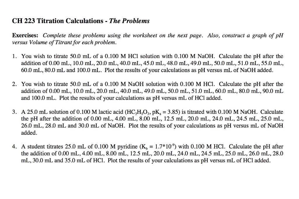 Solved: CH 223 Titration Calculations - The Problems Exerc ...
