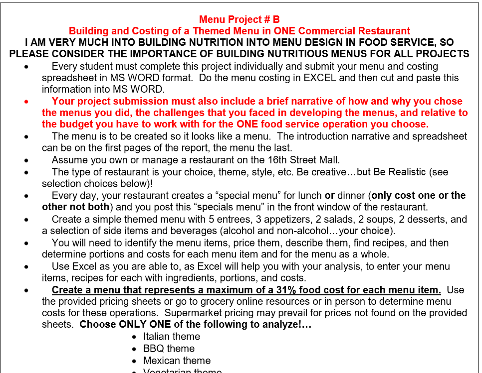 menu project b building and costing of a themed chegg com